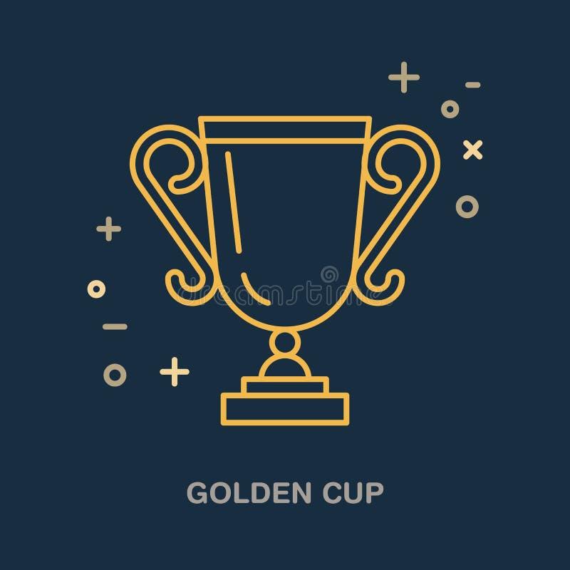 Het lineaire pictogram van de kampioenstrofee Gouden kopembleem, kampioenschapsteken Winnaartoekenning, leidingsillustratie vector illustratie