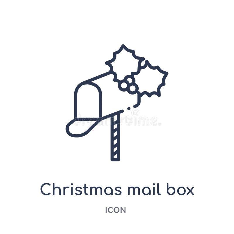Het lineaire pictogram van de Kerstmisbrievenbus van de inzameling van het Kerstmisoverzicht Dunne die de brievenbusvector van li stock illustratie