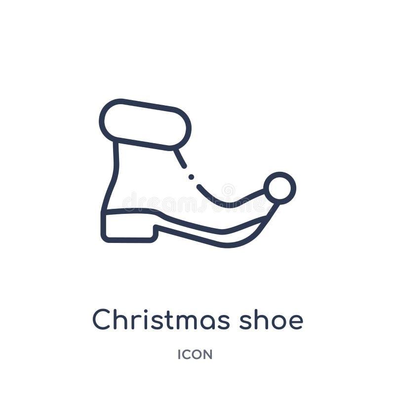 Het lineaire pictogram van de Kerstmisschoen van de inzameling van het Kerstmisoverzicht Dunne die de schoenvector van lijnkerstm stock illustratie