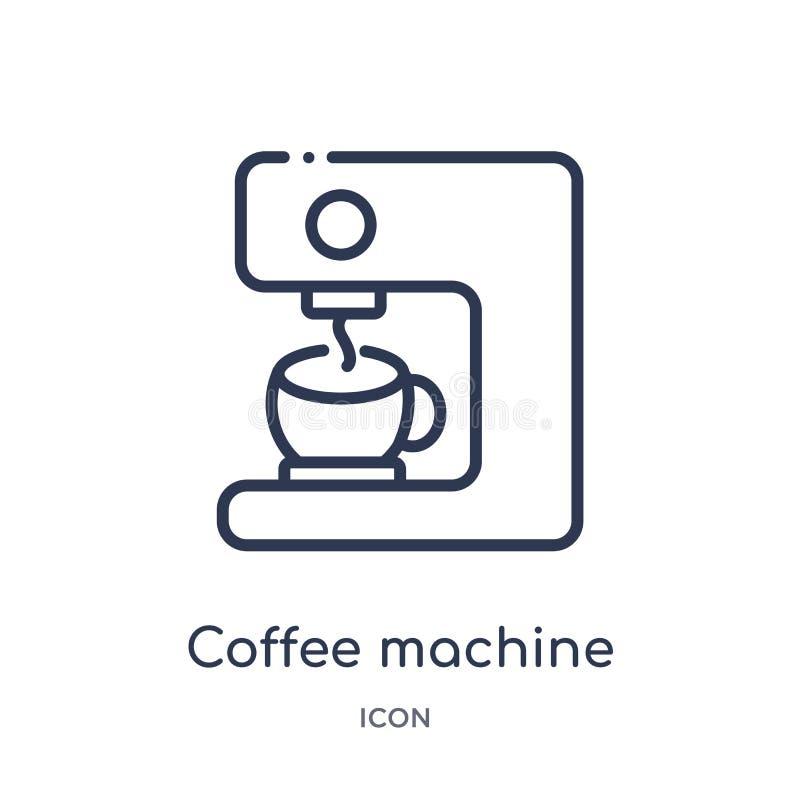 Het lineaire pictogram van de koffiemachine van de inzameling van het Keukenoverzicht Dun die de machinepictogram van de lijnkoff stock illustratie