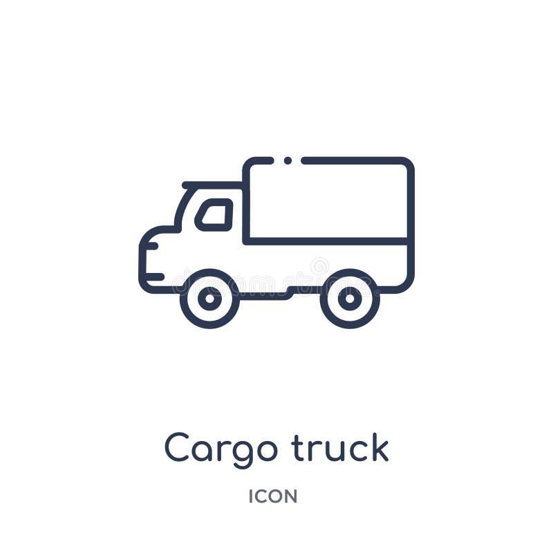 Het lineaire pictogram van de ladingsvrachtwagen van de inzameling van het de Industrieoverzicht Dun de vrachtwagenpictogram van  stock illustratie