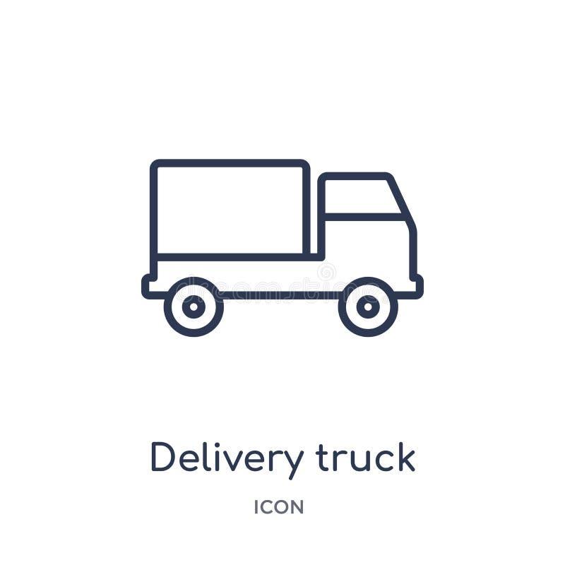 Het lineaire pictogram van de leveringsvrachtwagen van Levering en logistische overzichtsinzameling Dunne die de vrachtwagenvecto stock illustratie