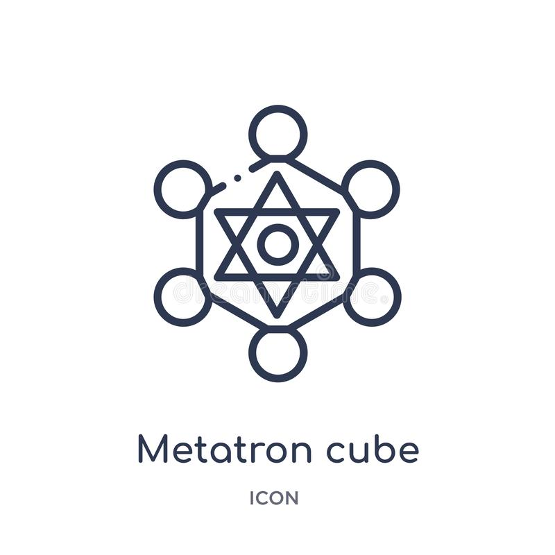 Het lineaire pictogram van de metatronkubus van de inzameling van het Meetkundeoverzicht Het dunne die pictogram van de lijn meta royalty-vrije illustratie