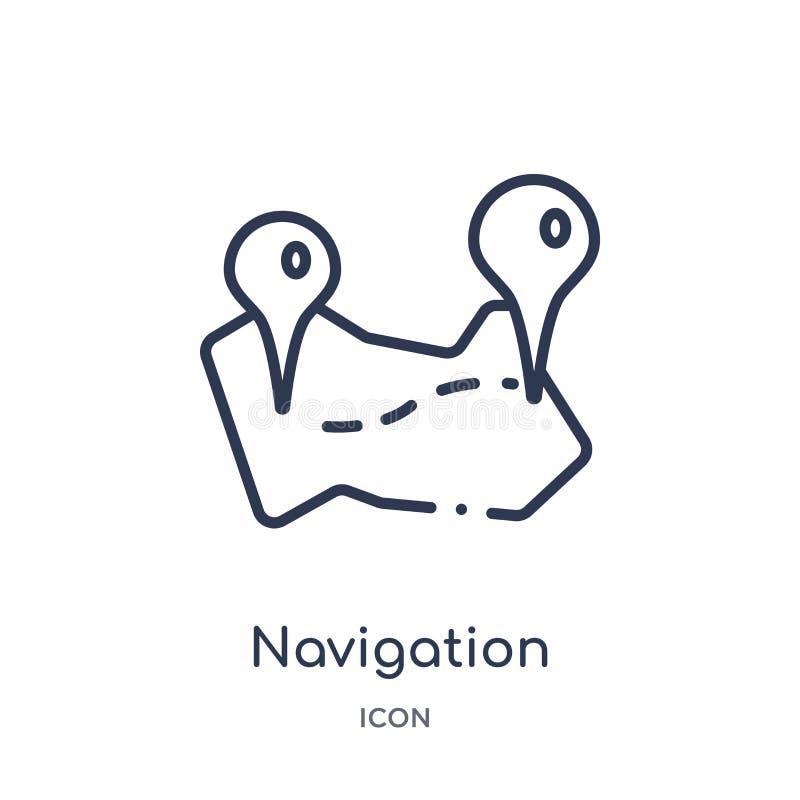 Het lineaire pictogram van de navigatiebaan van Kaarten en plaatsenoverzichtsinzameling Dun geïsoleerd de baanpictogram van de li royalty-vrije illustratie