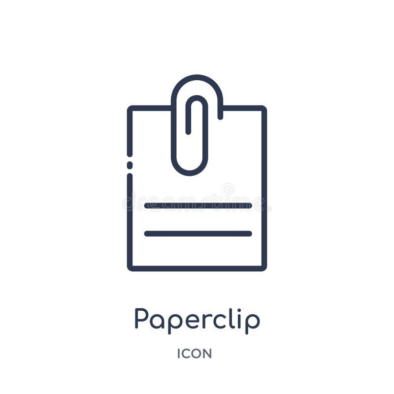 Het lineaire pictogram van de paperclipgehechtheid van Diverse overzichtsinzameling Het dunne pictogram van de lijn paperclip geh stock illustratie