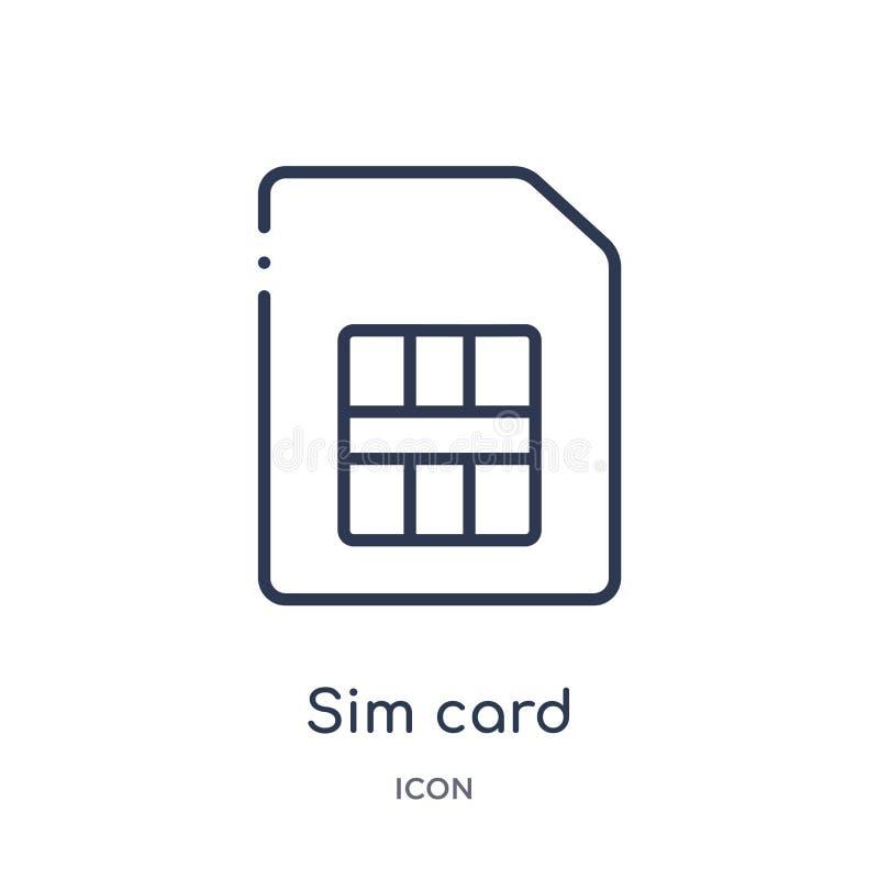 Het lineaire pictogram van de simkaart van de inzameling van het Elektronikaoverzicht Het dunne pictogram van de lijn sim kaart d stock illustratie
