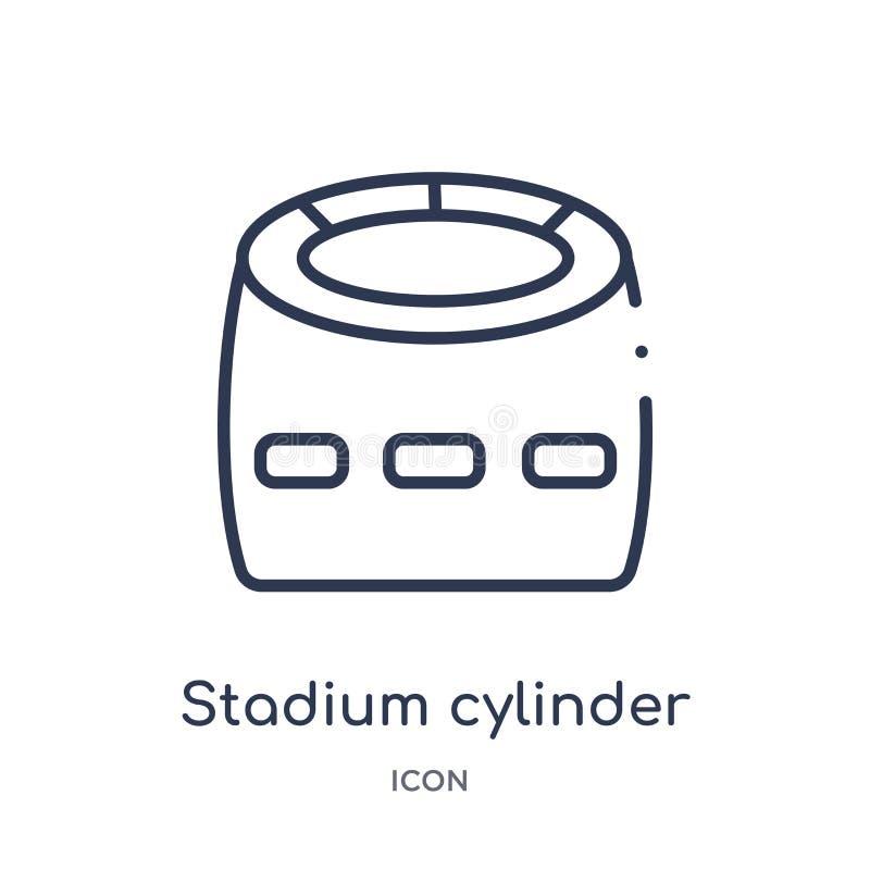 Het lineaire pictogram van de stadioncilinder van de Amerikaanse inzameling van het voetbaloverzicht Dunne die de cilindervector  royalty-vrije illustratie