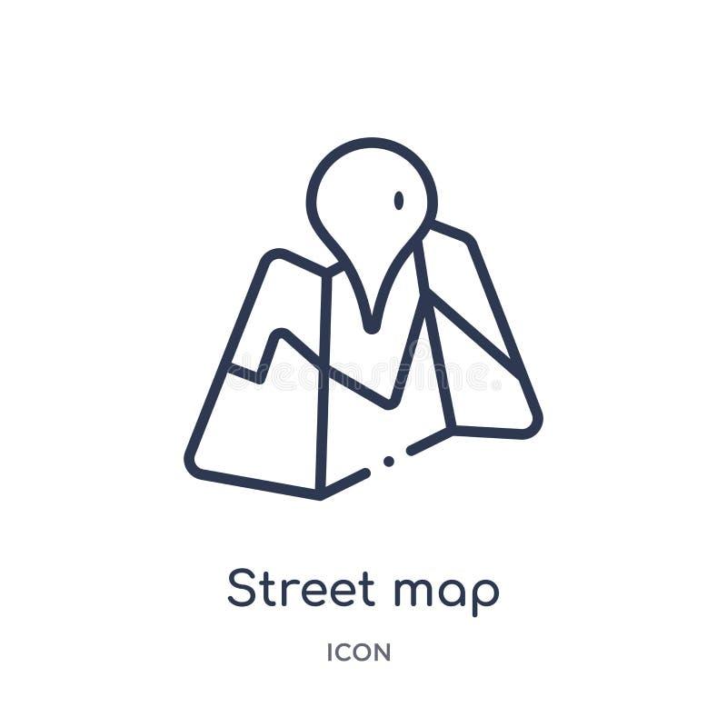 Het lineaire pictogram van de straatkaart van Kaarten en plaatsenoverzichtsinzameling Dun de kaartpictogram van de lijnstraat dat vector illustratie