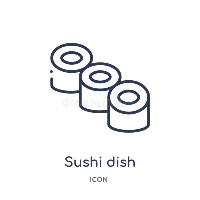 Het lineaire pictogram van de sushischotel van de inzameling van het Voedseloverzicht Dun die de schotelpictogram van lijnsushi o stock illustratie