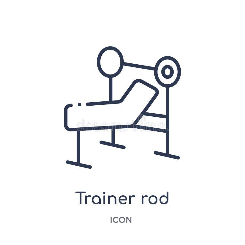 Het lineaire pictogram van de trainerstaaf van Gymnastiek en de inzameling van het geschiktheidsoverzicht Dun die de staafpictogr vector illustratie