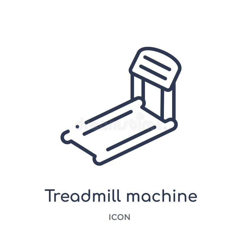 Het lineaire pictogram van de tredmolenmachine van Gymnastiek en de inzameling van het geschiktheidsoverzicht Dun die de machinep royalty-vrije illustratie