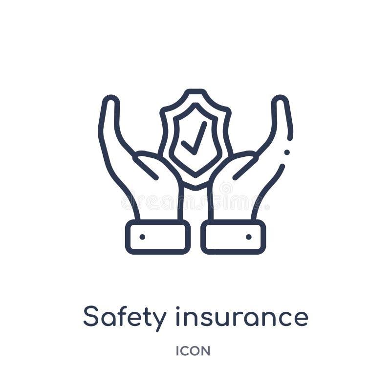 Het lineaire pictogram van de veiligheidsverzekering van de inzameling van het Verzekeringsoverzicht Dun die de verzekeringspicto vector illustratie
