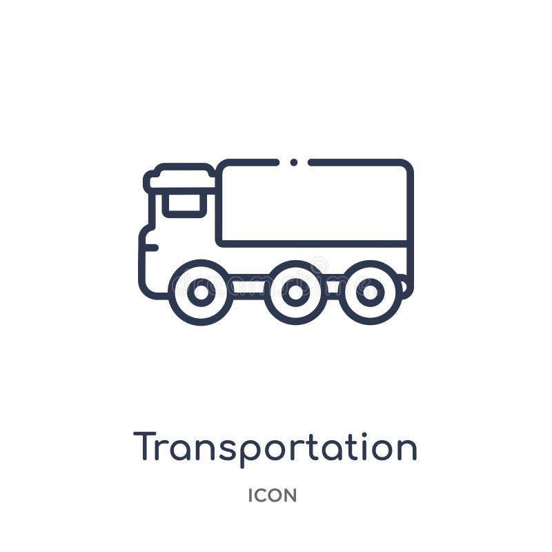 Het lineaire pictogram van de vervoersvrachtwagen van Mechanicons-overzichtsinzameling Dun de vrachtwagenpictogram van het lijnve vector illustratie