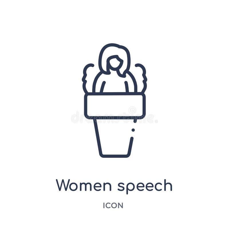 Het lineaire pictogram van de vrouwentoespraak van de inzameling van het Damesoverzicht Dun die de toespraakpictogram van lijnvro vector illustratie