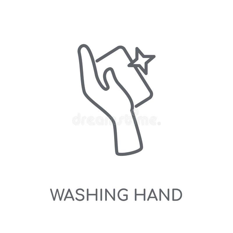 Het lineaire pictogram van de washand Moderne conce van het de handembleem van de overzichtswas royalty-vrije illustratie