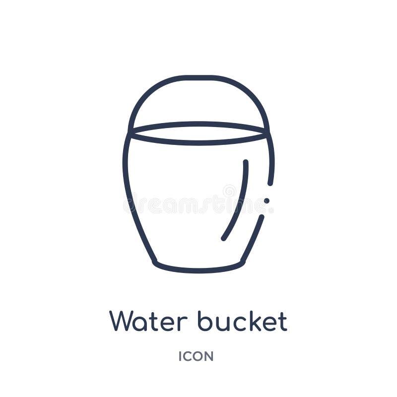 Het lineaire pictogram van de wateremmer van Waakzame overzichtsinzameling Dunne die de emmervector van het lijnwater op witte ac royalty-vrije illustratie
