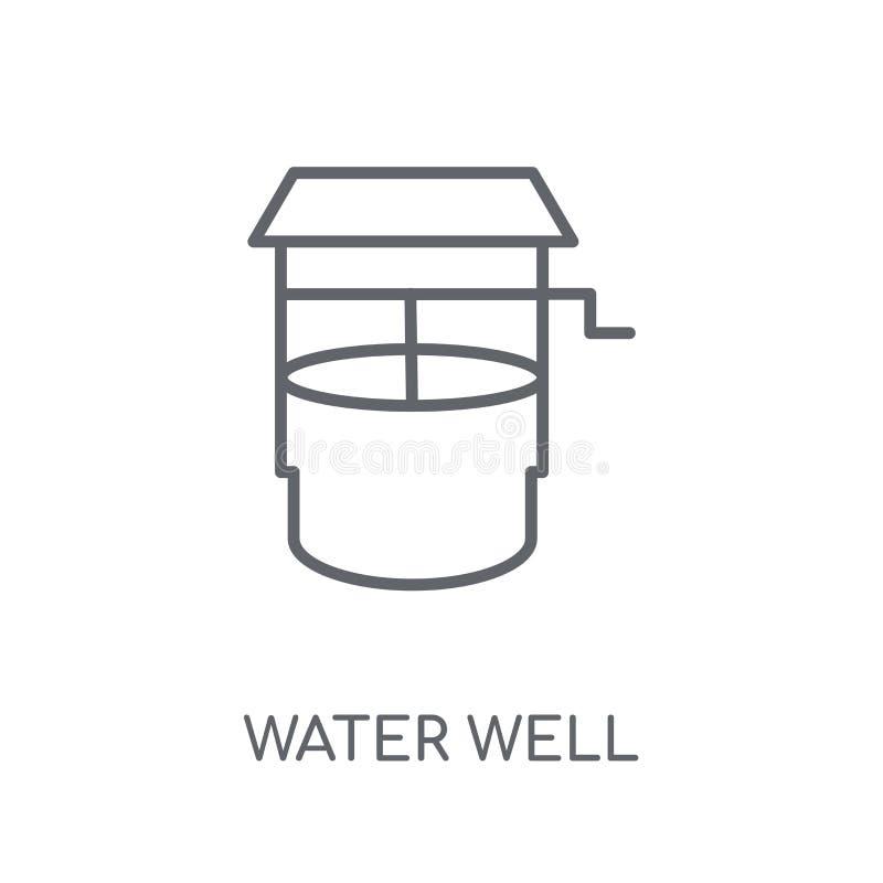 het lineaire pictogram van de waterput Het moderne van het de Putembleem van het overzichtswater concept o royalty-vrije illustratie