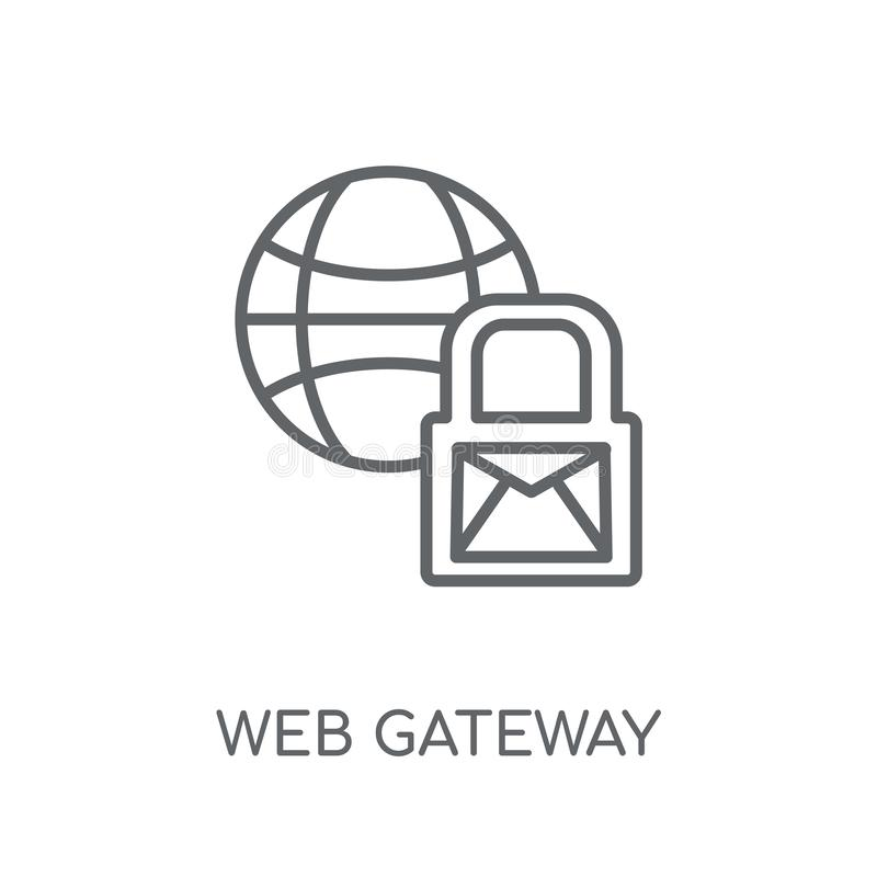 het lineaire pictogram van de Webgateway Het moderne concept van het de gatewayembleem van het overzichtsweb stock illustratie