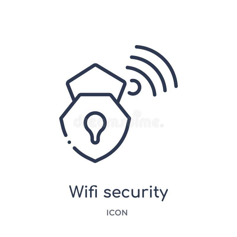 Het lineaire pictogram van de wifiveiligheid van Internet-veiligheid en de inzameling van het voorzien van een netwerkoverzicht D vector illustratie