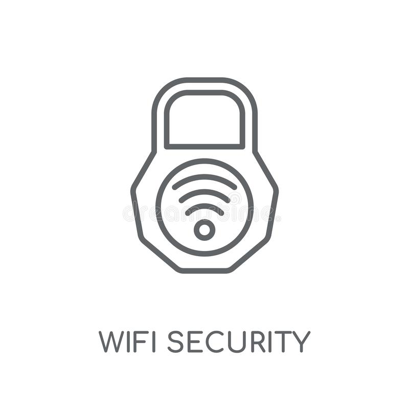 Het lineaire pictogram van de Wifiveiligheid Het moderne de veiligheidsembleem van overzichtswifi bedriegt vector illustratie
