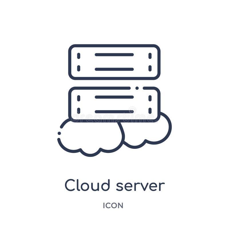 Het lineaire pictogram van de wolkenserver van de inzameling van het Voorzien van een netwerkoverzicht Dun die de serverpictogram stock illustratie
