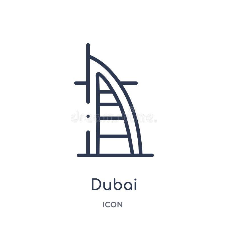 Het lineaire pictogram van Doubai van de inzameling van het Hoteloverzicht Het dunne pictogram van lijndoubai dat op witte achter royalty-vrije illustratie
