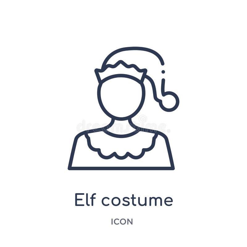 Het lineaire pictogram van het elfkostuum van de inzameling van het Kerstmisoverzicht Dunne die het kostuumvector van het lijnelf royalty-vrije illustratie