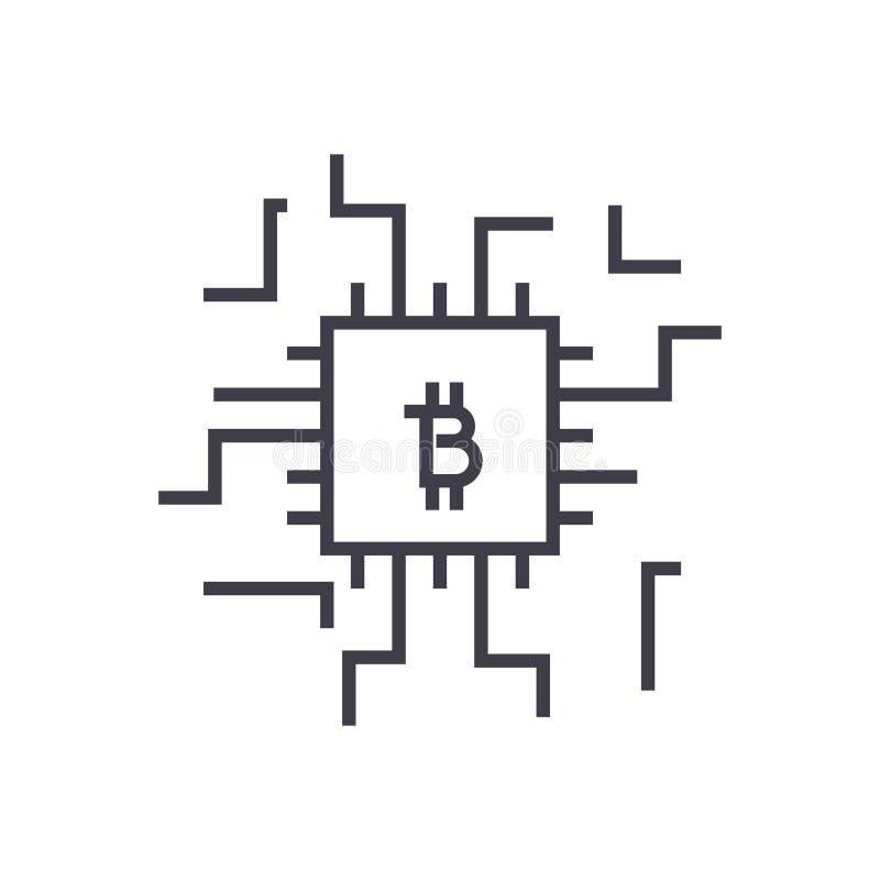 Het lineaire pictogram van het Fintechconcept, teken, symbool, vector op geïsoleerde achtergrond royalty-vrije illustratie