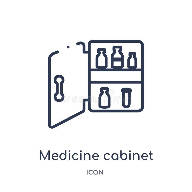 Het lineaire pictogram van het geneeskundekabinet van Medische overzichtsinzameling Dun die het kabinetspictogram van de lijngene stock illustratie
