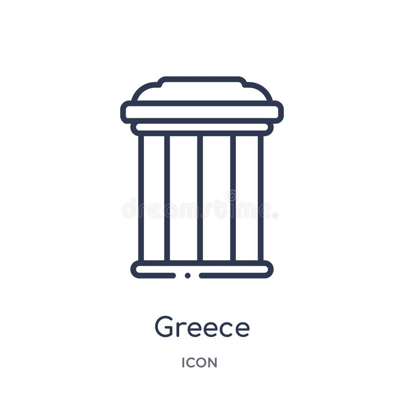 Het lineaire pictogram van Griekenland van de inzameling van het Gebouwenoverzicht De dunne die vector van lijngriekenland op wit vector illustratie