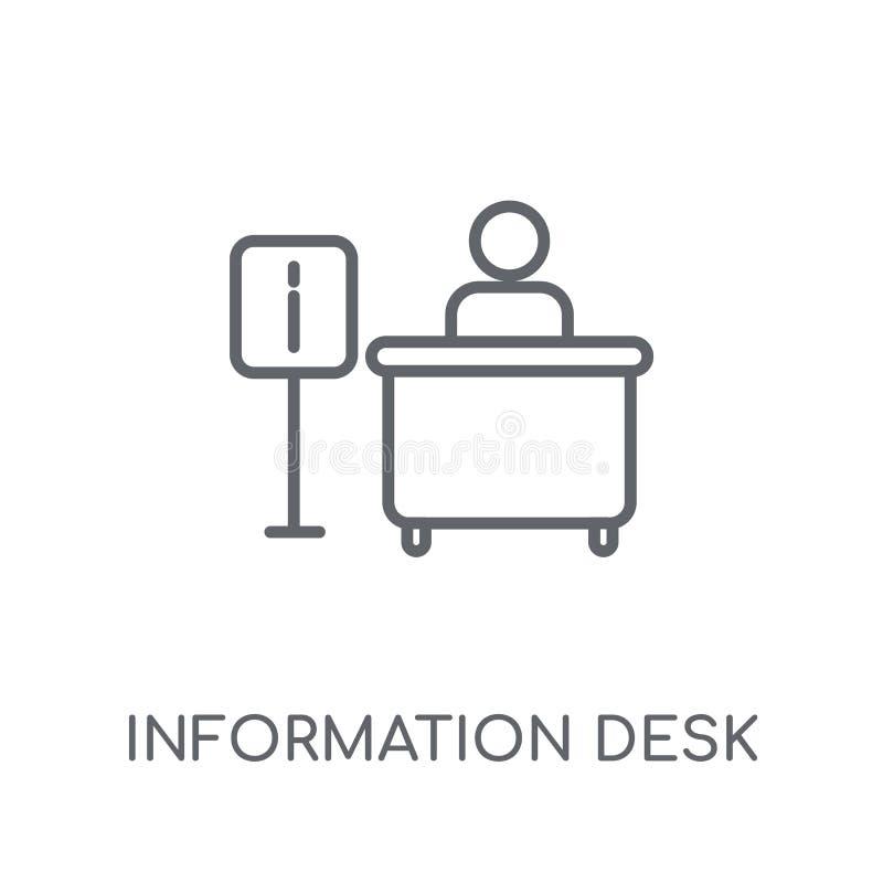 Het lineaire pictogram van het informatiebureau Het moderne bureau van de overzichtsinformatie lo vector illustratie