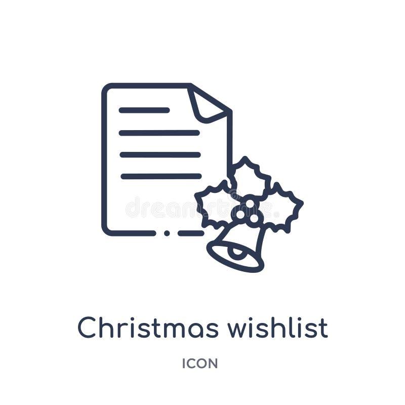 Het lineaire pictogram van Kerstmiswishlist van de inzameling van het Kerstmisoverzicht Dunne die wishlistvector van lijnkerstmis vector illustratie