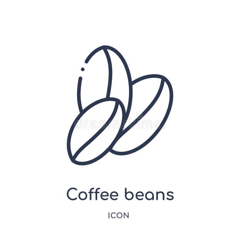 Het lineaire pictogram van koffiebonen van Brazilia-overzichtsinzameling Dunne die de bonenvector van de lijnkoffie op witte acht royalty-vrije illustratie