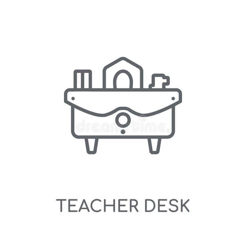 Het lineaire pictogram van het leraarsbureau Moderne conce van het het bureauembleem van de overzichtsleraar stock illustratie