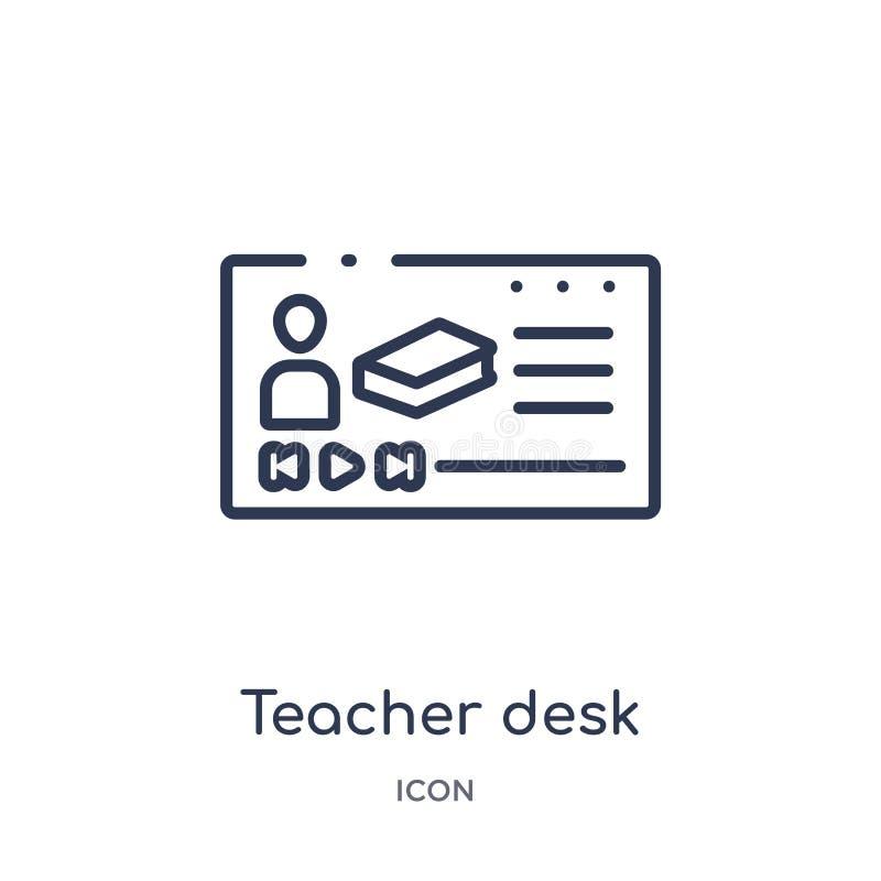 Het lineaire pictogram van het leraarsbureau van het overzichtsinzameling van Elearning en van het onderwijs Dunne die het bureau vector illustratie