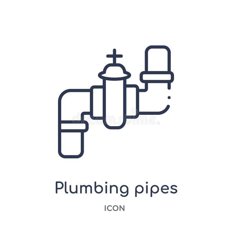 Het lineaire pictogram van loodgieterswerkpijpen van het overzichtsinzameling van Bouwhulpmiddelen Dunne die de pijpenvector van  royalty-vrije illustratie