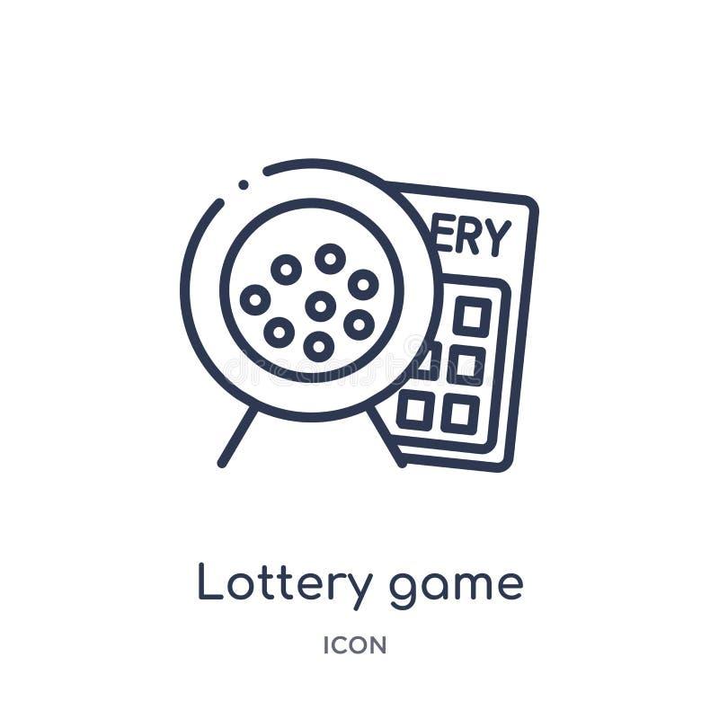 Het lineaire pictogram van het loterijspel van Vermaak en de inzameling van het arcadeoverzicht Dunne die het spelvector van de l vector illustratie