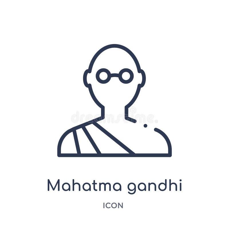 Het lineaire pictogram van mahatmagandhi van het overzichtsinzameling van India Dun die gandhipictogram van lijnmahatma op witte  vector illustratie