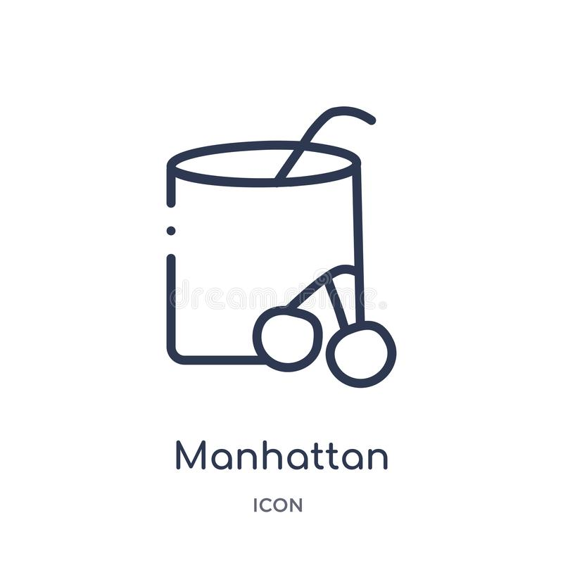 Het lineaire pictogram van Manhattan van de inzameling van het Drankenoverzicht De dunne die vector van lijnmanhattan op witte ac royalty-vrije illustratie