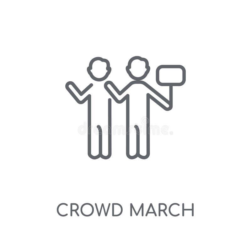 het lineaire pictogram van menigtemaart Modern het embleemconcept van Maart van de overzichtsmenigte stock illustratie