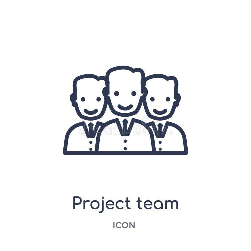 Het lineaire pictogram van het projectteam van Algemene overzichtsinzameling Dun die het teampictogram van het lijnproject op wit royalty-vrije illustratie