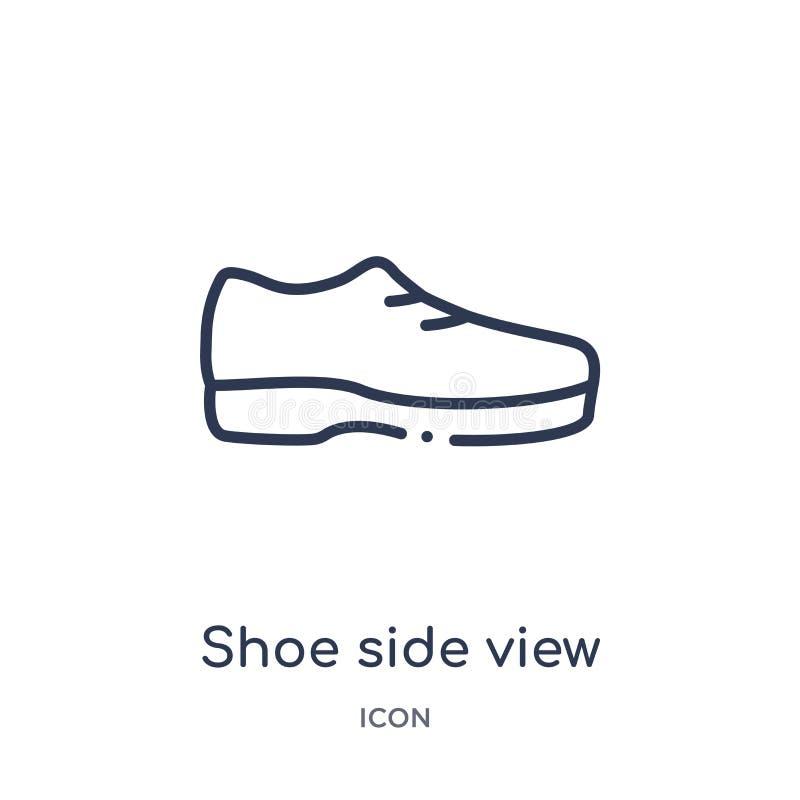 Het lineaire pictogram van het schoen zijaanzicht van de inzameling van het Manieroverzicht Dun die het zijaanzichtpictogram van  royalty-vrije illustratie