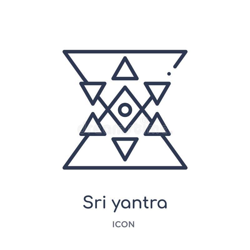 Het lineaire pictogram van sriyantra van de inzameling van het Meetkundeoverzicht Dun die yantrapictogram van lijnsri op witte ac stock illustratie