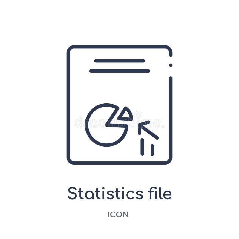 Het lineaire pictogram van het statistiekendossier van Dossiers en omslagenoverzichtsinzameling Dun die het dossierpictogram van  royalty-vrije illustratie