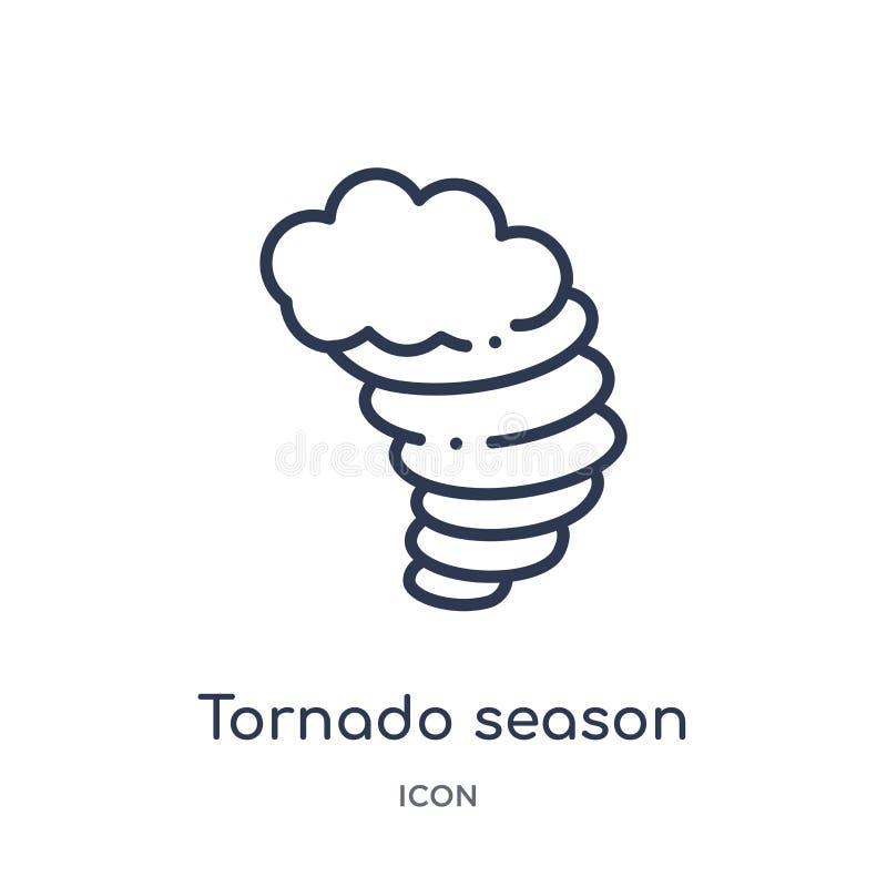 Het lineaire pictogram van het tornadoseizoen van de inzameling van het Meteorologieoverzicht Dun die het seizoenpictogram van de stock illustratie