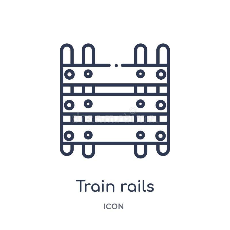 Het lineaire pictogram van treinsporen van de inzameling van het Woestijnoverzicht Dunne de sporenvector van de lijntrein die op  stock illustratie