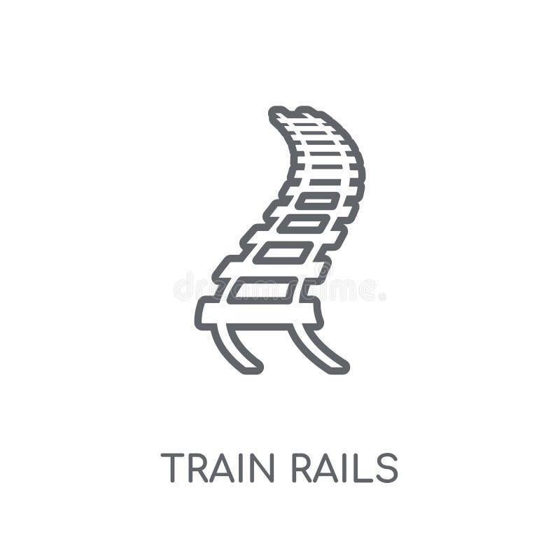 Het lineaire pictogram van treinsporen Het moderne concept van het de Sporenembleem van de overzichtstrein royalty-vrije illustratie