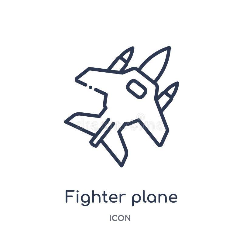 Het lineaire pictogram van het vechtersvliegtuig van Leger en de inzameling van het oorlogsoverzicht Dunne die het vliegtuigvecto vector illustratie