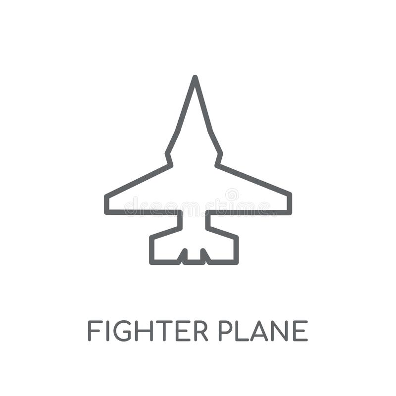 het lineaire pictogram van het vechtersvliegtuig Het moderne het vliegtuigembleem van de overzichtsvechter bedriegt vector illustratie
