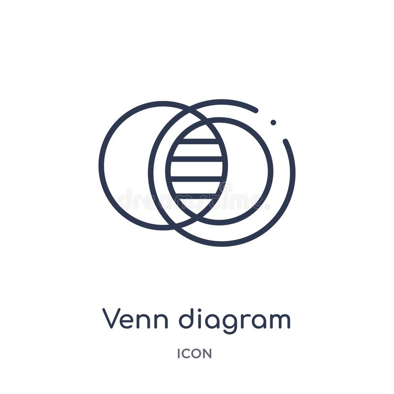 Het lineaire pictogram van het venndiagram van Analytics-overzichtsinzameling De dunne die vector van het lijn venn diagram op wi vector illustratie